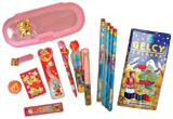 筆記用具(筆箱、メモ帳、シャーペン、シャーペン芯、消しゴム、クリップ、ボールペン、定規、鉛筆、色鉛筆)