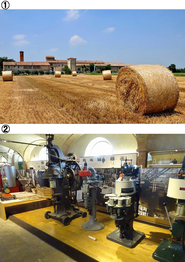 ①パルマのトマト・パスタ博物館とその前に広がる農地 ②パルマのトマト博物館の内部